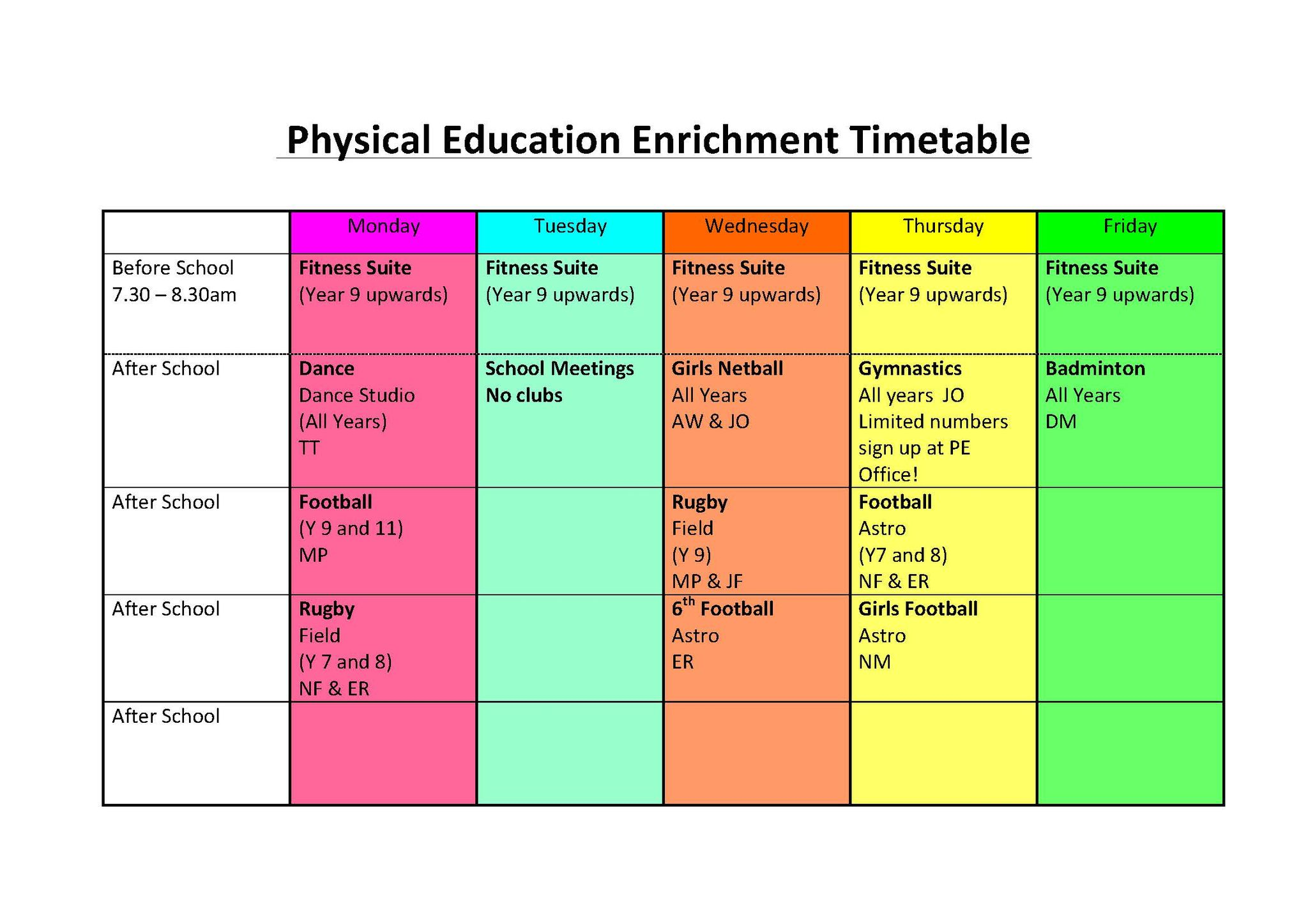 Pe extra curricular timetable 2015 2016