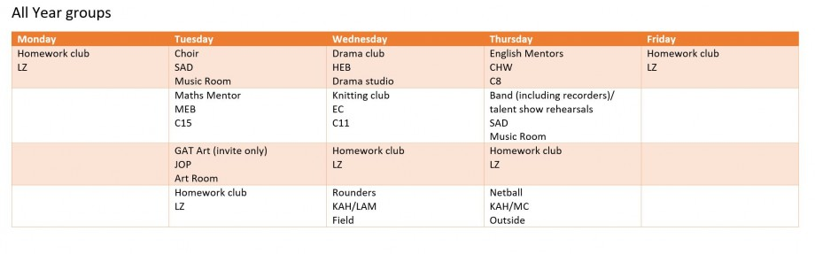 all year groups april period 6