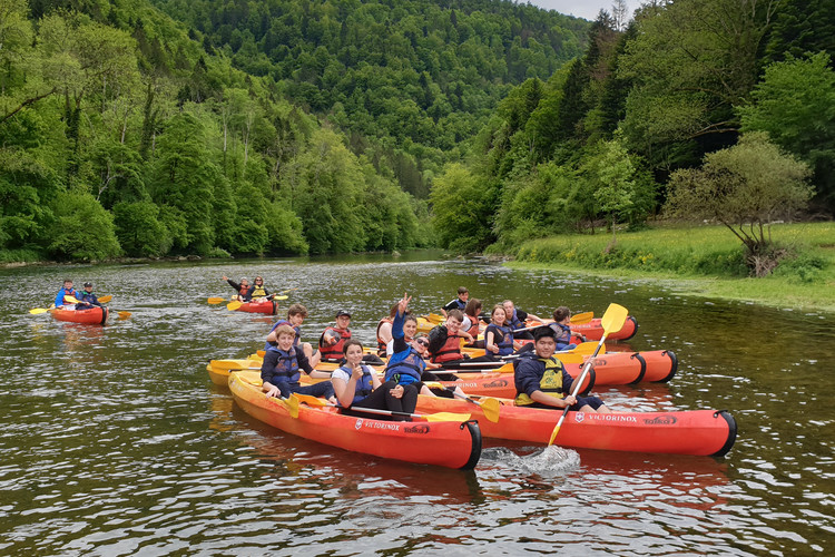 Canoeing on river on L5 half term trip to Switzerland 2019