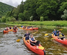 L5 canoeing on river on half term trip to Switzerland 2019