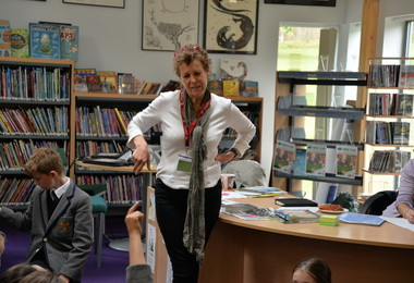 Author Marcia Williams in Prep School Library