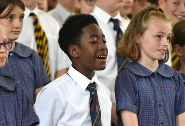 Westfield House singing at Prep School House Music 2019