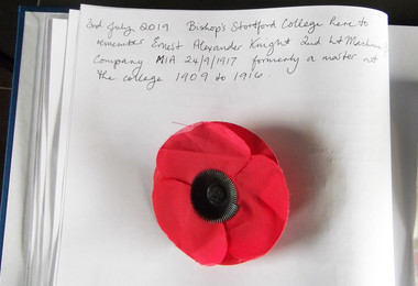 Letter with poppy on Battlefields Trip 2019