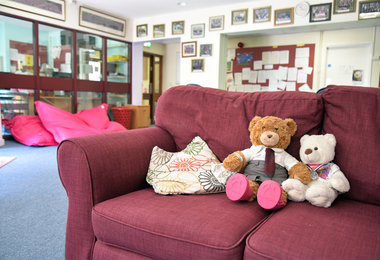 Young House Common Room sofa and teddies