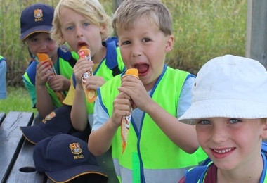 Eating ice lollies on Pre-Prep Trip to Willows Farm 2019