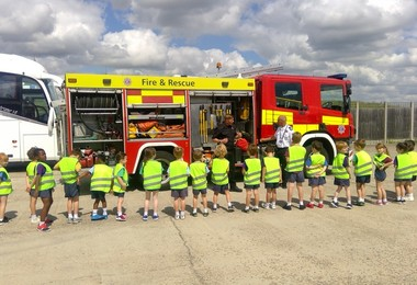 Year 1 with firetruck at Stansted Airport