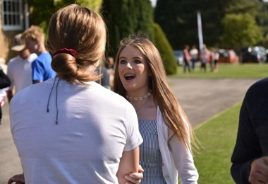 U5th pupils chatting on GCSE Results Day 2019