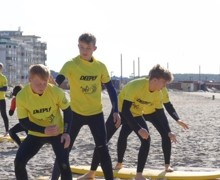 Practising surfing on portugal rugby tour 2019