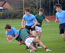 Collett v RPH on top field in Senior House Rugby 2019