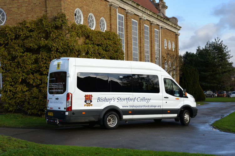 Minibus outside the Memorial Hall