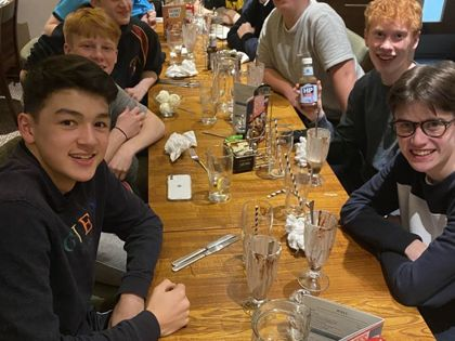 U16 Boys dinner at Indoor Hockey Nationals weekend