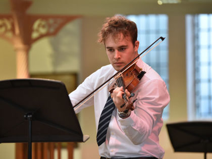 Anthony on violin in URC January 2020