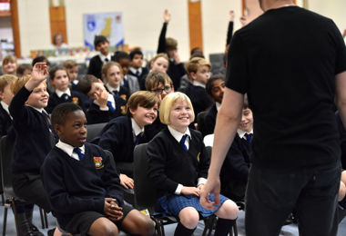 Steve Cole entertains Prep School audience