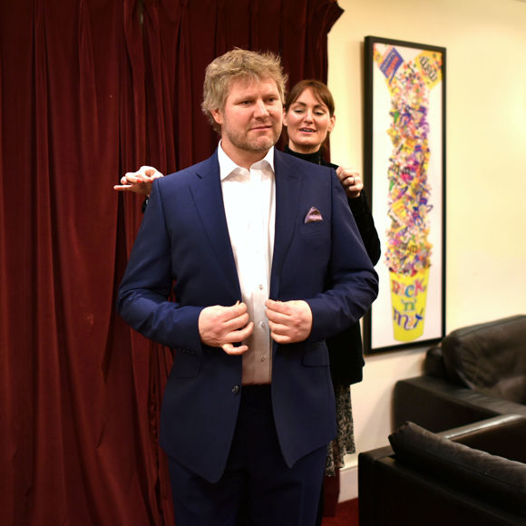 Matthew Hoggard in suit by Alexandra Wood