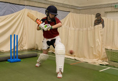 Pupil in Matthew Hoggard cricket session
