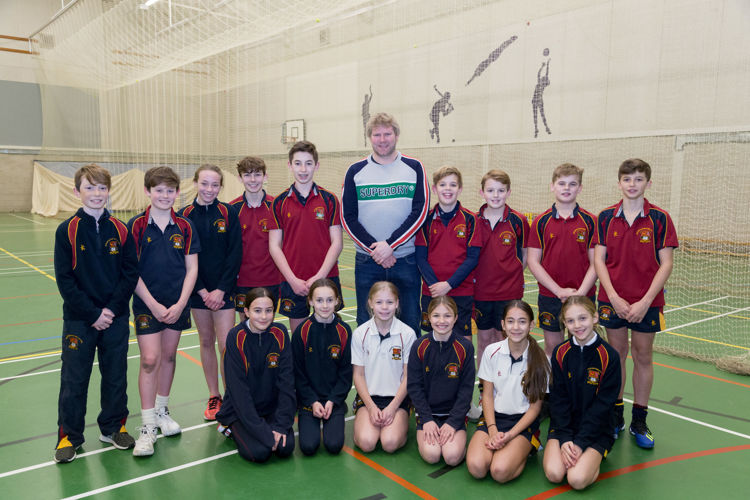 Prep School pupils with Matthew Hoggard