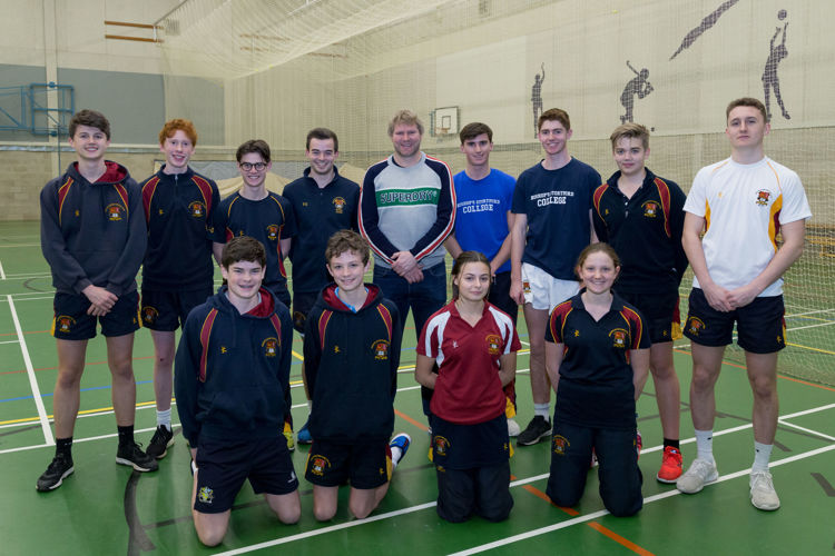 Senior School cricketers with Matthew Hoggard