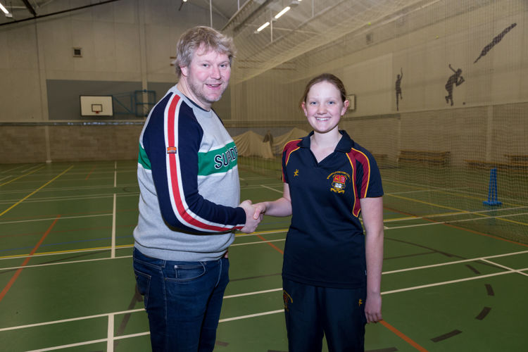 Mabel with Matthew Hoggard in Sports Hall