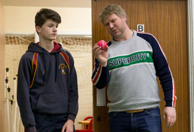 Matthew Hoggard talking to boy cricketer