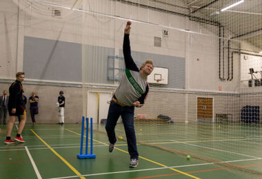 Matthew Hoggard bowling in Senior School session