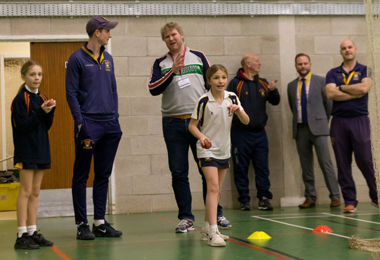 Prep School girl in Matthew Hoggard cricket session