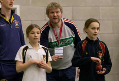 Matthew Hoggard training Prep School girl cricketers