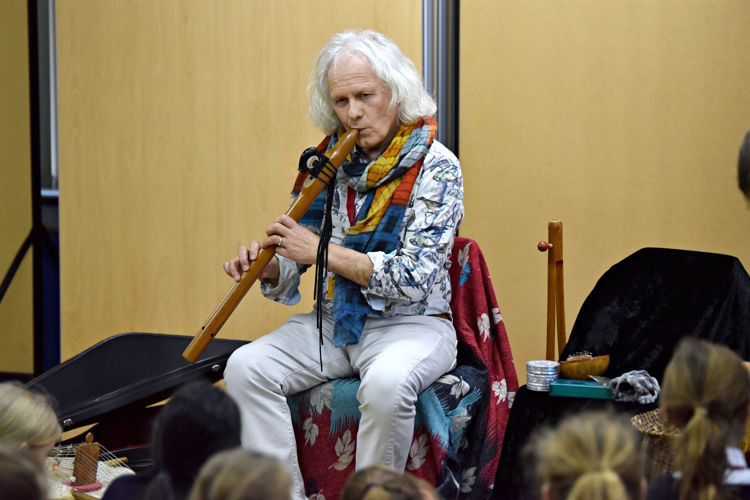 Paul Jackson entertains in Prep School Hall