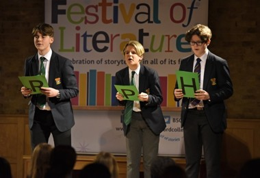 Literature Live 2020 boys performing in FLT