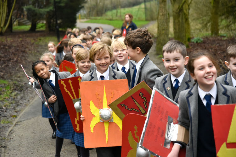Roman Invasion pupils marching