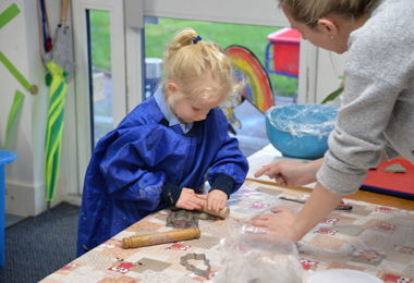 Pre-Prep pupils making Christmas decorations