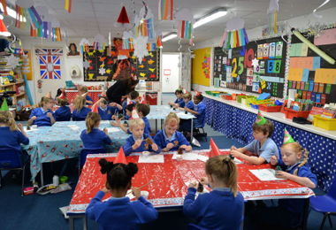 Pre-Prep pupils making Christmas decorations together