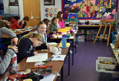 College Camp pupils doing art