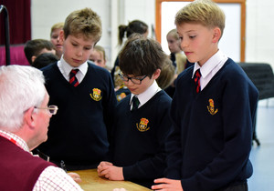 Prep School Pupils with Author in Library
