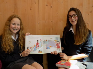 Senior School Girls with Book for Prep School
