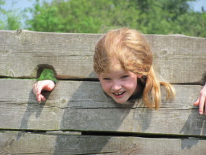 Prep School Girl in Stocks at Mountfitchet Castle