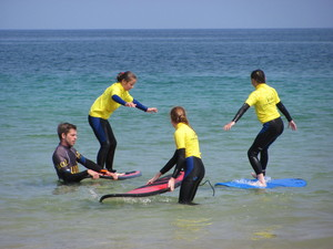 Prep School Pupils in Water on Cornwall Trip
