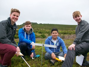 boys fieldwork on Sixth Form Biology trip