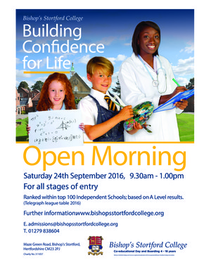 Whole College Open Morning 2016 poster