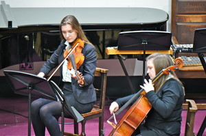 Senior School Strings Girls Playing Violin and Cello
