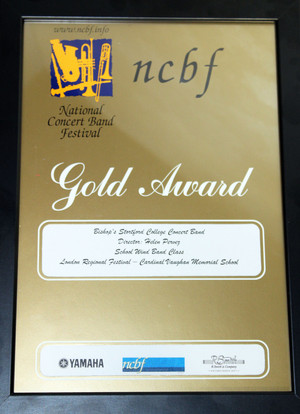 National Concert BandAward Winners Dec 16 Gold certificate