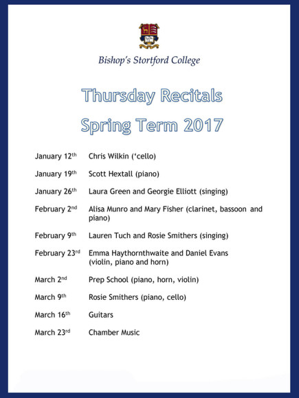 St Michael's Church lunchtime recitals programme jan 17