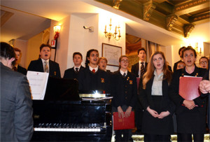 Choir Trip to Lake Como, singers with piano