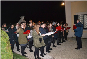 Choir Trip to Lake Como, singing outside at night