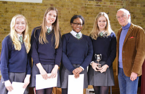 Tee House Girls Literature Live Winners with Roger McGough