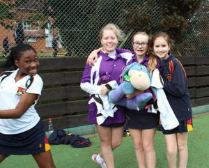 Prep School House Netball Newbury Girls with Mascot