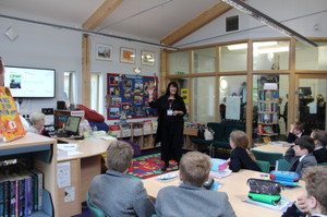 Author Kim Slater in Prep School Library with F2