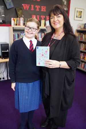 Prep School Pupil with Author Kim Slater