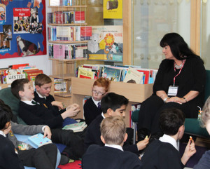 Kim Slater with L3 and U3 Book Club Pupils