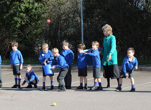 Shell Invasion Pre-Prep boys throwing balls