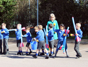 Pre prep celts battling centurions in Shell Invasion